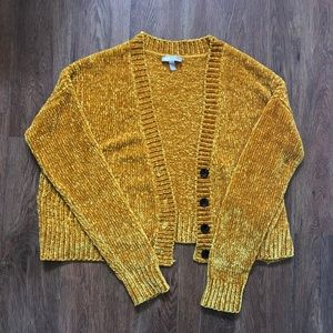 ASOS Cropped Cardigan in Chenille with Buttons